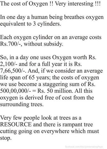 cost of oxygen